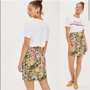 Topshop | Floral Tapestry High Waisted Mini Skirt